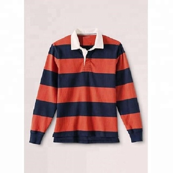 Striped Rugby Polo Shirt With White Twill Collar For Men Custom Shirts Long Sleeve