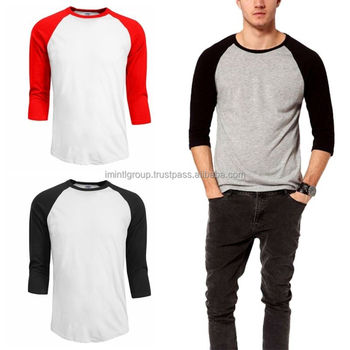 c8f46559f1 Mens Baseball T-shirts 3 4 Sleeve Tee Plain Team Sport Jersey Solid ...