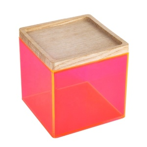 Transparent neon pink color acrylic square storage organizer candy box with wooden lid