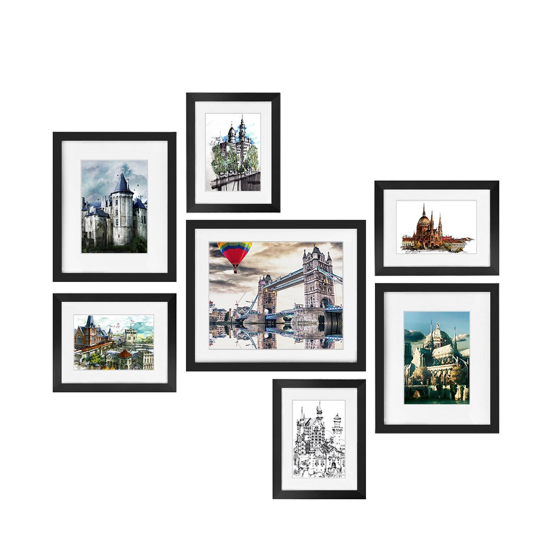 BOJIN Picture Frames Set, 7-Piece Wood Photo Frames, One 10X12 (8X10 matted), Two 8x10 ( 5x7 matted) Four 6x8 (4x6 matted) for Wall Corridor Family Room Art Decoration (Black)