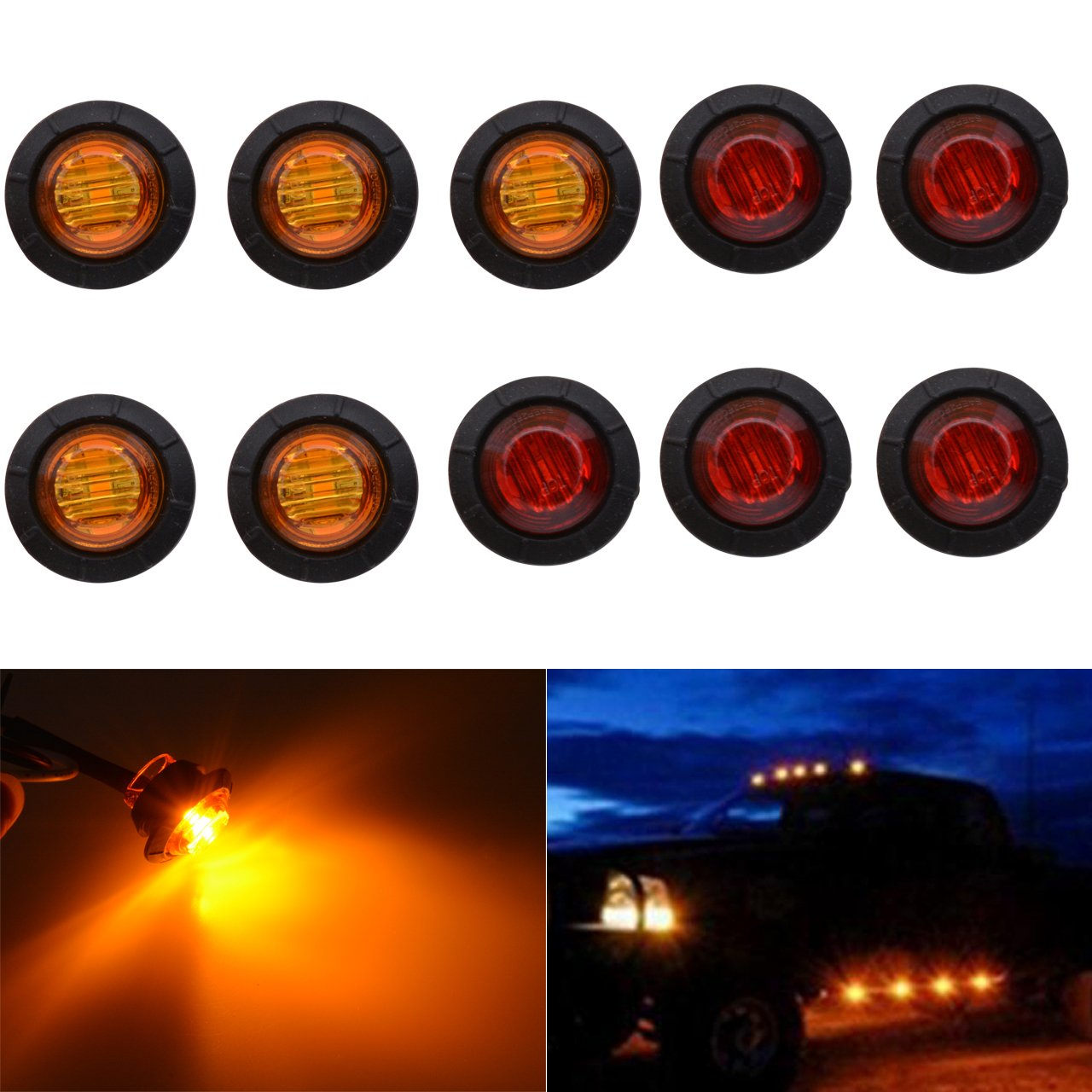 10 NEW AMBER AMBER MINI OVAL 2 LED DIODES 2 X 3//4 .75 CLEARANCE MARKER TRAILER TRUCK LIGHTS W BULLET ENDS AND STAINLESS STEEL TRIM RING