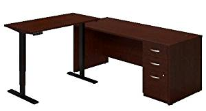 "Bush Sit Stand L Shaped Desk Desk Dimension: 72""W X 30""D W/Three Drawer Pedestal 48""W X 24""D Height Adjustable Standing Desk Top W/Black Base - Mocha Cherry"