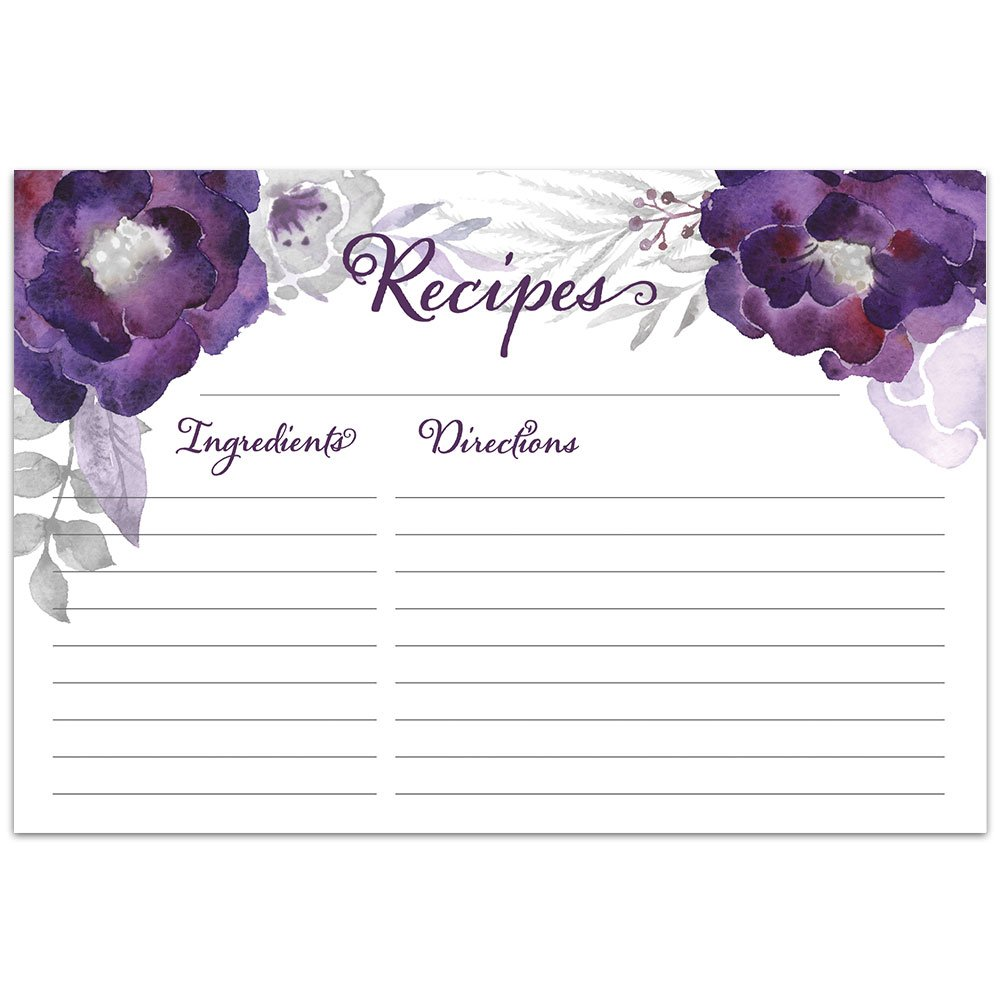 Floral Purple Recipe Cards from Dashleigh, 48 Cards, 4x6 inches, Water-Resistant and Double-Sided