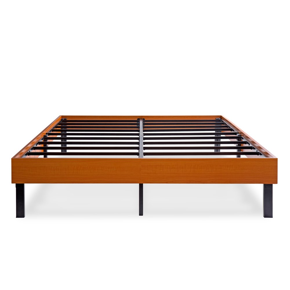 Olee Sleep Wood Platform Bed/ Steel Slat support/ Non Slip, Vintage Cherry, Queen 14''H