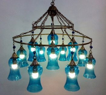 Br362 two tiers mouth blown rings turquoise glass ceiling light br362 two tiers mouth blown rings turquoise glass ceiling light fixture mozeypictures Images