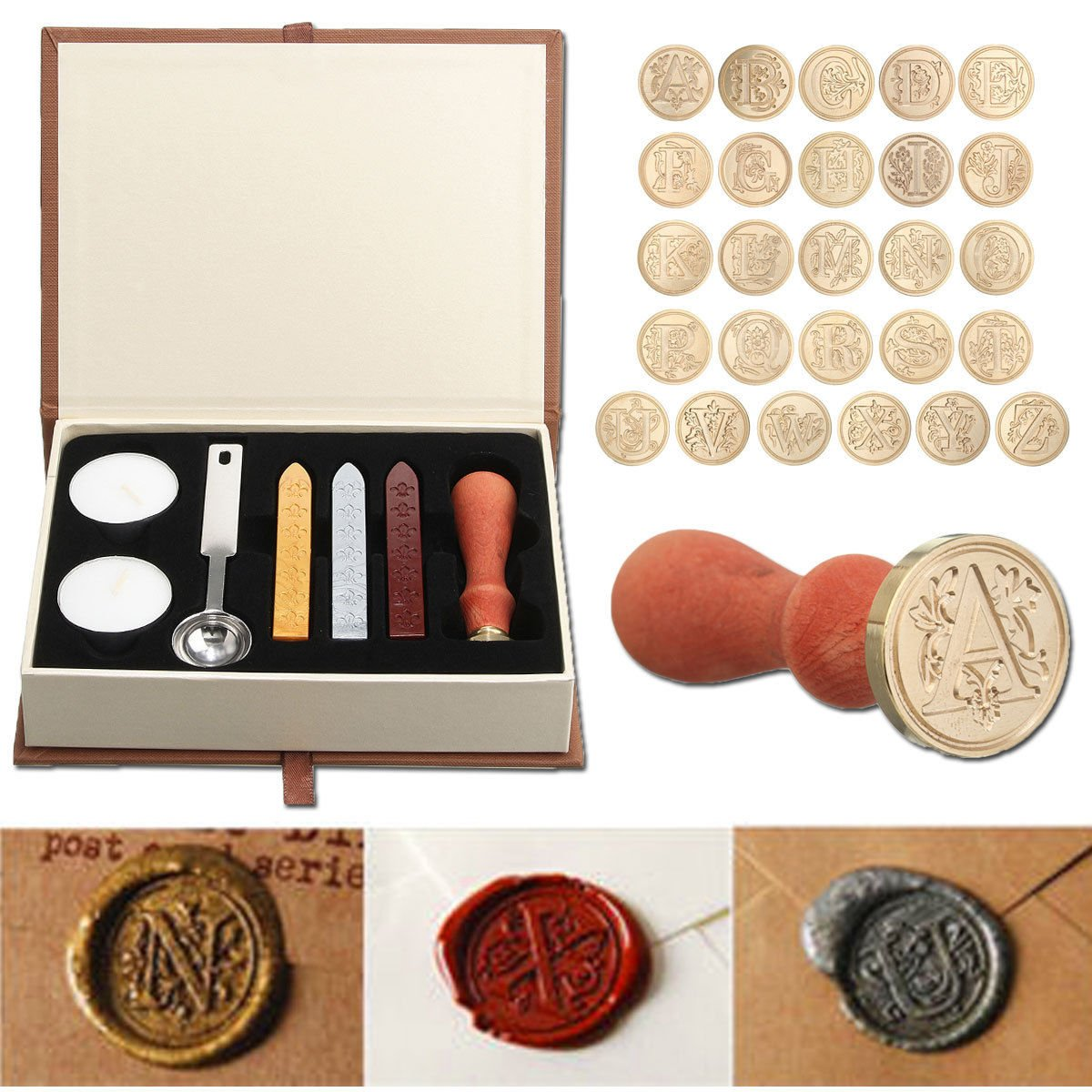 Seal Wax Kit,PUQU Vintage Initial Letters A-Z Alphabet Wax Badge Seal Stamp Kit Wax Set Tool Gift(K)