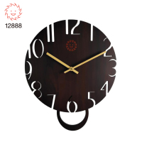 Home Decoration Round MDF Quartz Pendulum Wall Clock for living room