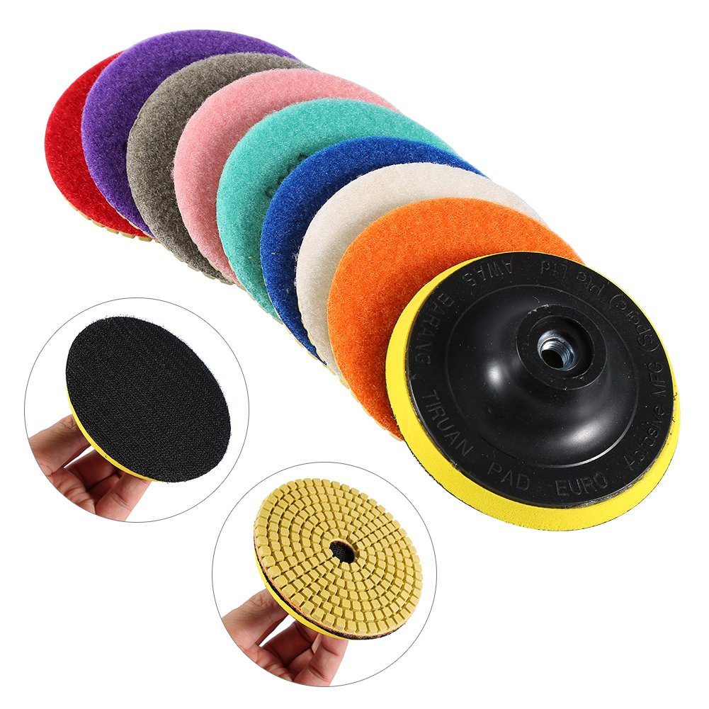 Nixikoo Diamond Wet Dry Polishing Pads Disc Set Kit for Granite Marble Concrete Stone Buffing Polishing,4 inch ,Pack of 9,Includes 8 Grinding Discs(#50/100/300/500/800/1500/2000/3000)and 1 Sticky