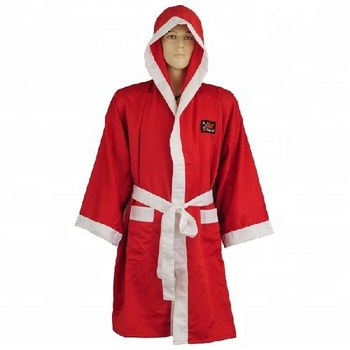 499d3a5386 Power Red Boxing Gown Full Length Boxing Robe W  Hood. Red   White Trim