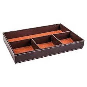 Solid Design Large Size Leather Letter Tray With Drawer