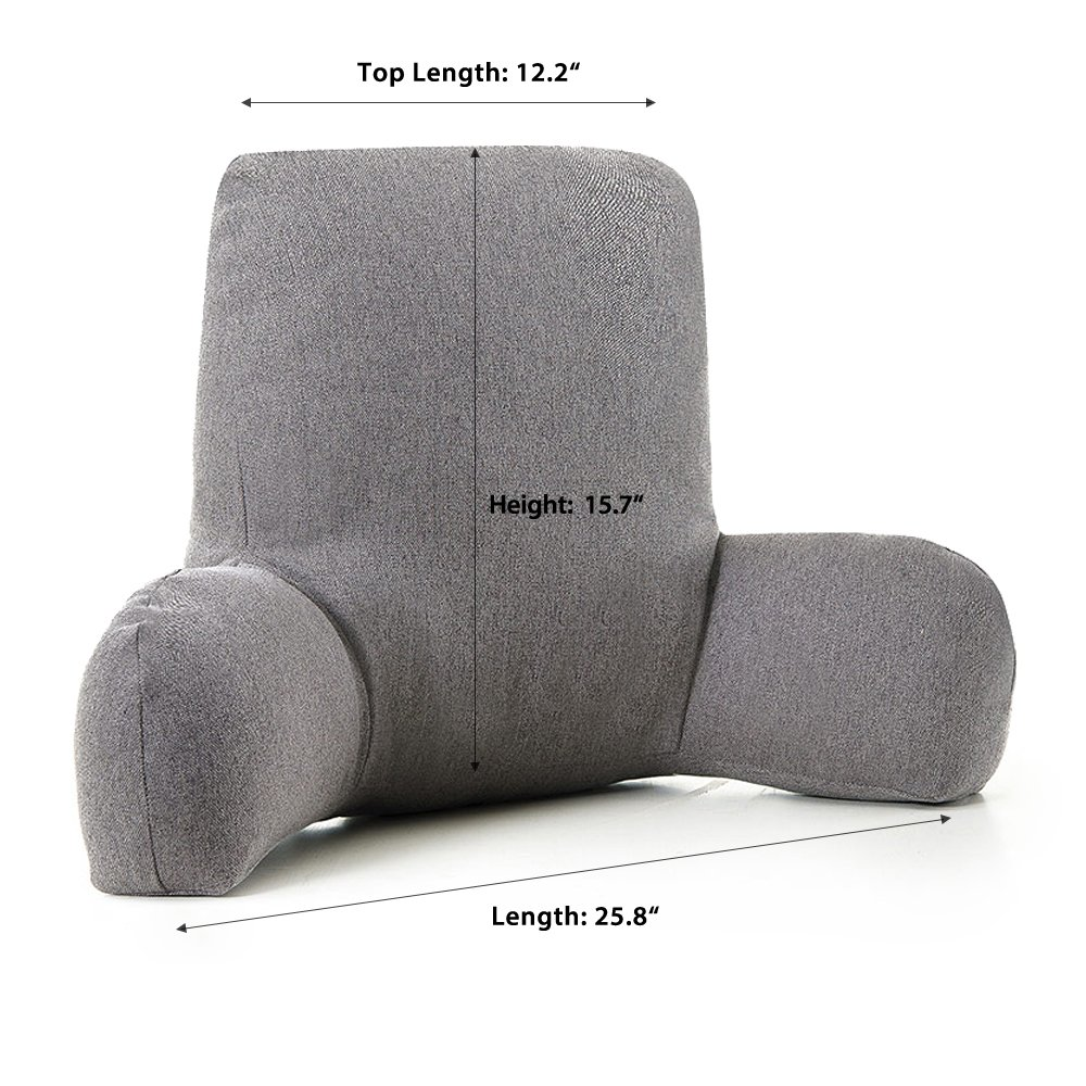 ZOEMO Bed Reading Pillow, Grey - Bed Rest Pillows with Arm Rests for Reading in Bed - Thick Bedrest Pillow with Washable Cushion Cover