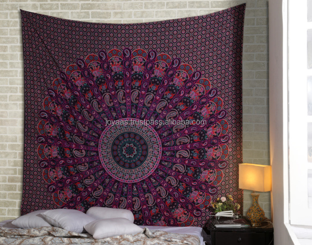 Top Selling Mandala Pink And Wine Floral Printed Bed Cover Tapsetry