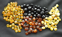 Natural Baltic Amber polished Baroque beads 4 colours
