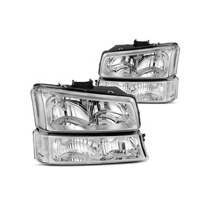 Headlight for Avalanche 03-06 / Silverado 1500HD 03-07/Silverado 2500HD 03-06 Chrome Housing w/ Signal Light 15199556/15199557