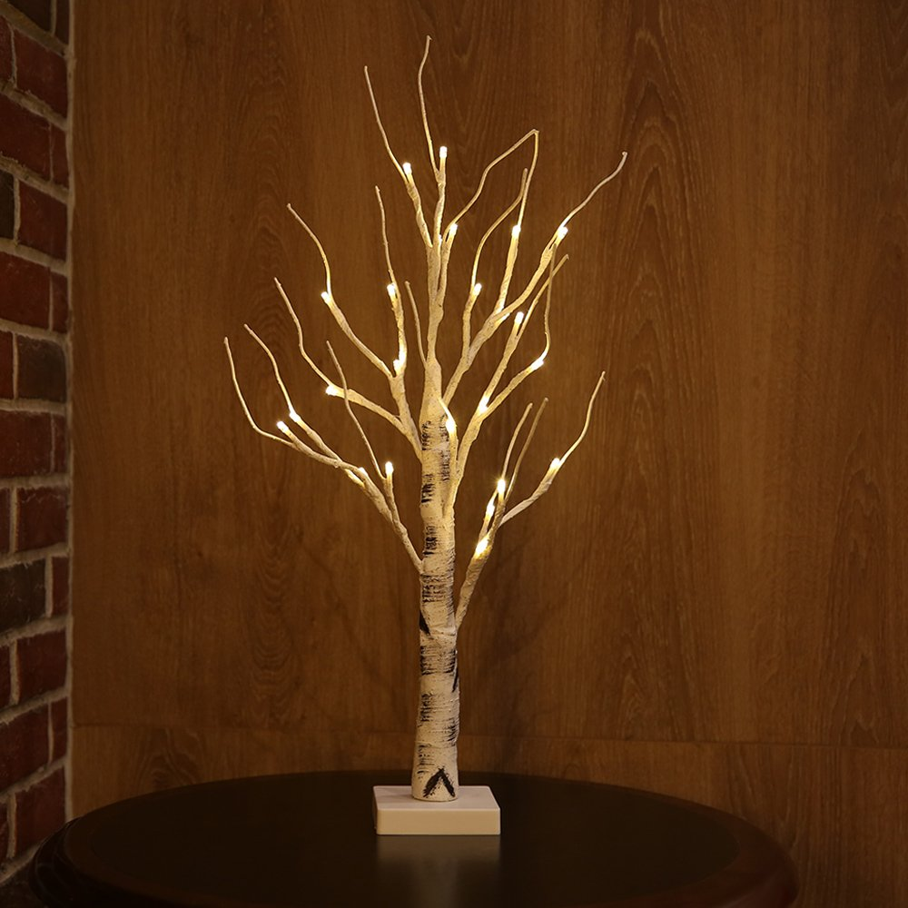 Zanflare Birch Tree Lights, 0.6M/23.6 Inch 24 LEDs Battery Operated Desk Tree Light, Warm White Bonsai Tree Light, Silver Birch Twig Tree for Home, Party, Birthday, Wedding Indoor