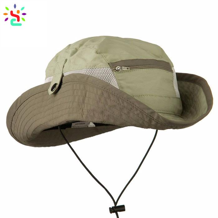 Classic bucket hats with zipper pocket fishing hat men beach hats side mesh  sun protection cap d50d6c98fff