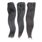 Machine human hair weft most popular coarse kinky straight human hair