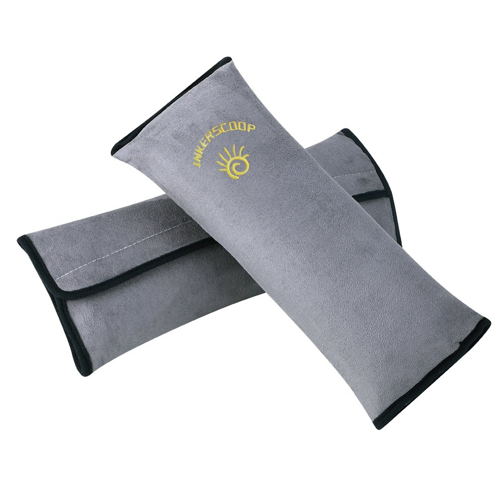 Kids Seatbelt Pillow 2 Packs, INKERSCOOP Universal Car Seat Belt Pillow Seatbelt Protector Cushion Seat Belt Covers for Children and Adult 2 Packs (Gray)