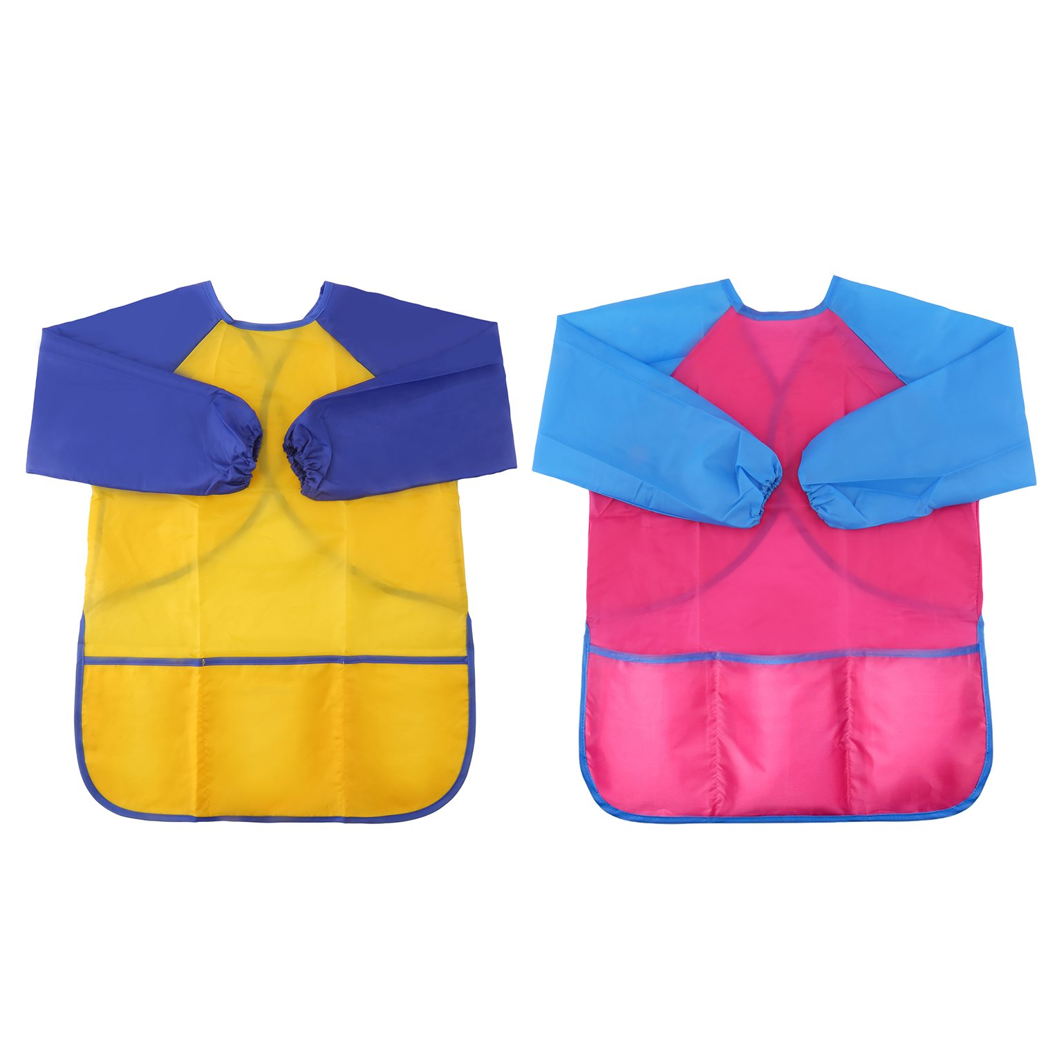 LOKIPA Waterproof Paint Apron for Kids, Children Art Smock Long Sleeve with 3 Roomy Pockets, Pack of 2 Suitable for 4-8 Years