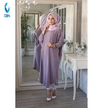 2018 Fashion New Design Islamic Clothing Muslim Dress Elisa Ferace Tunic Lilac
