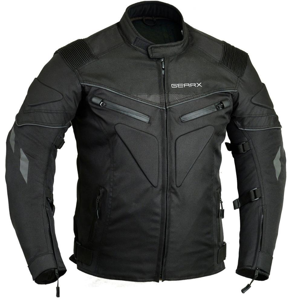 Mens Black 600D Cordura Waterproof Textile /& Leather Motorcycle//Motorbike Gloves