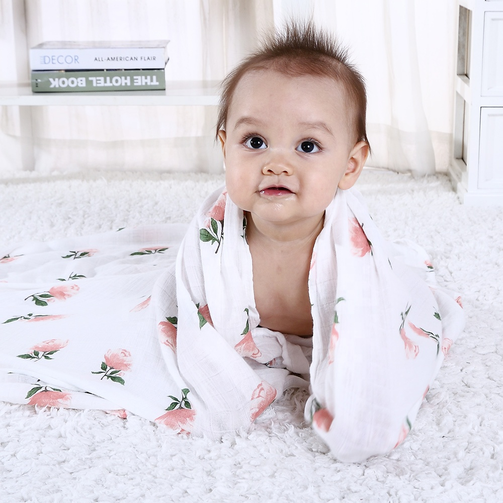 Soft Baby Cotton Blanket Nursing Cover Organic Bamboo Swaddle Muslin Squares Wrap