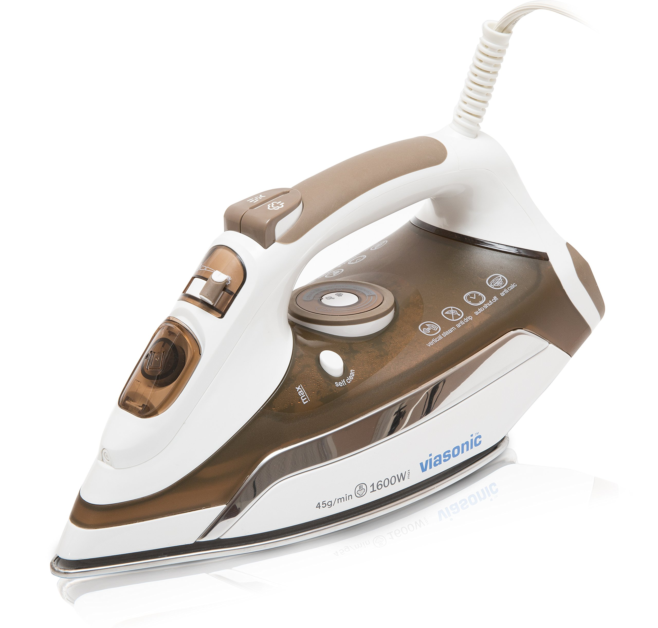 Viasonic Executive Steam Iron 1600W, Auto-Off - Anti-Drip & Self-Cleaning, Anti-Calcium, Vertical Steam, Stainless Steel Soleplate, XL 350ML Tank - Steam, Spray, & Dry Functions - ETL Listed, by Unity