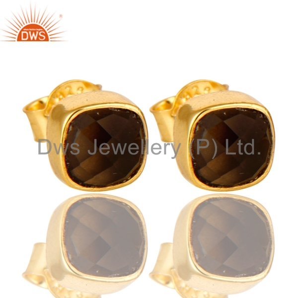 Yellow Gold Plated 925 Silver Stud Earrings For Girls Smoky Quartz Gemstone Earrings Supplier