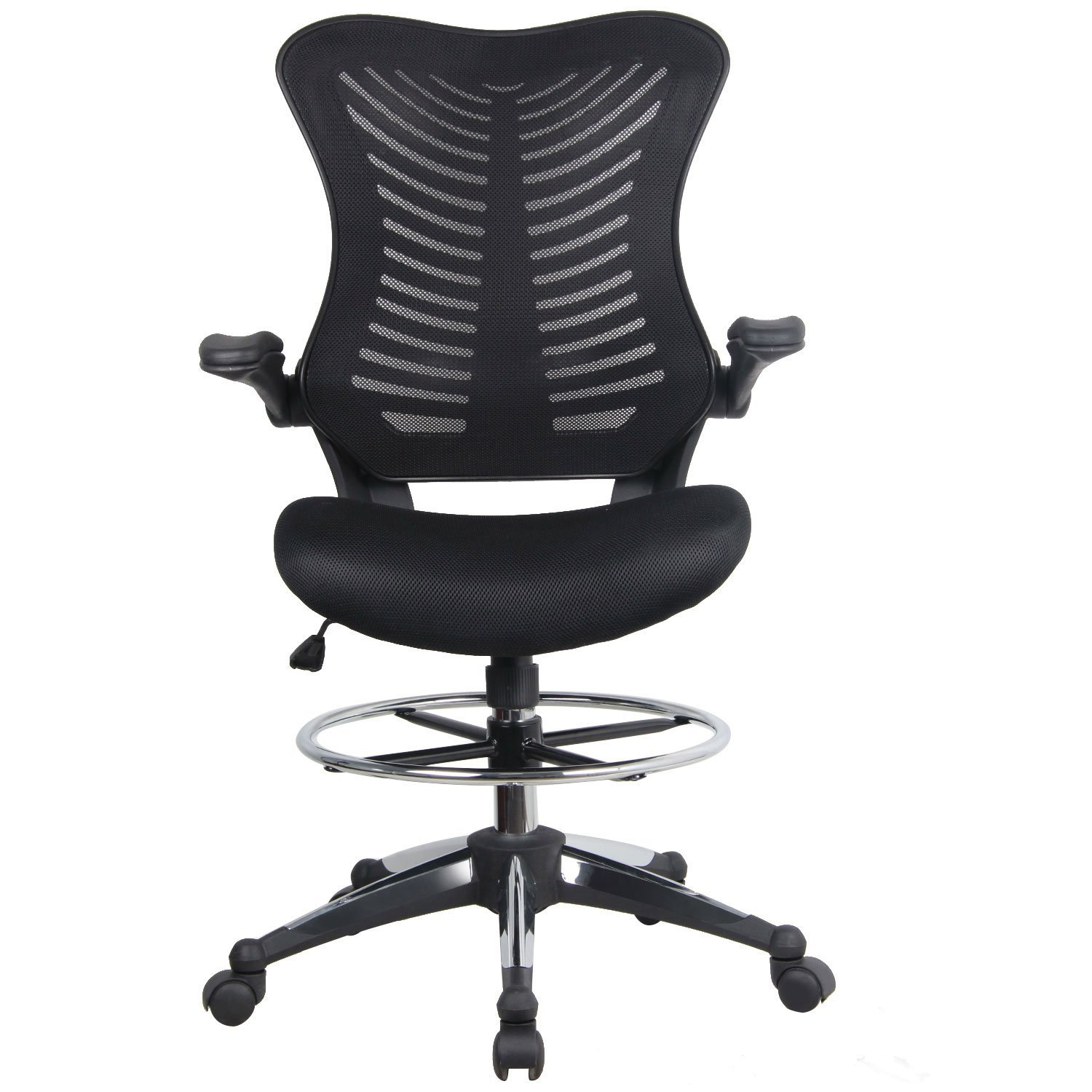 Homdox Ergonomic Office Chair, Adjustable Drafting Chair Breathable Mesh Fabric Chair Flip-up Padded Armrest with Five Dual-Wheel Handle Mechanism Swivel Height Home Office Chair (Black) (Style 1)