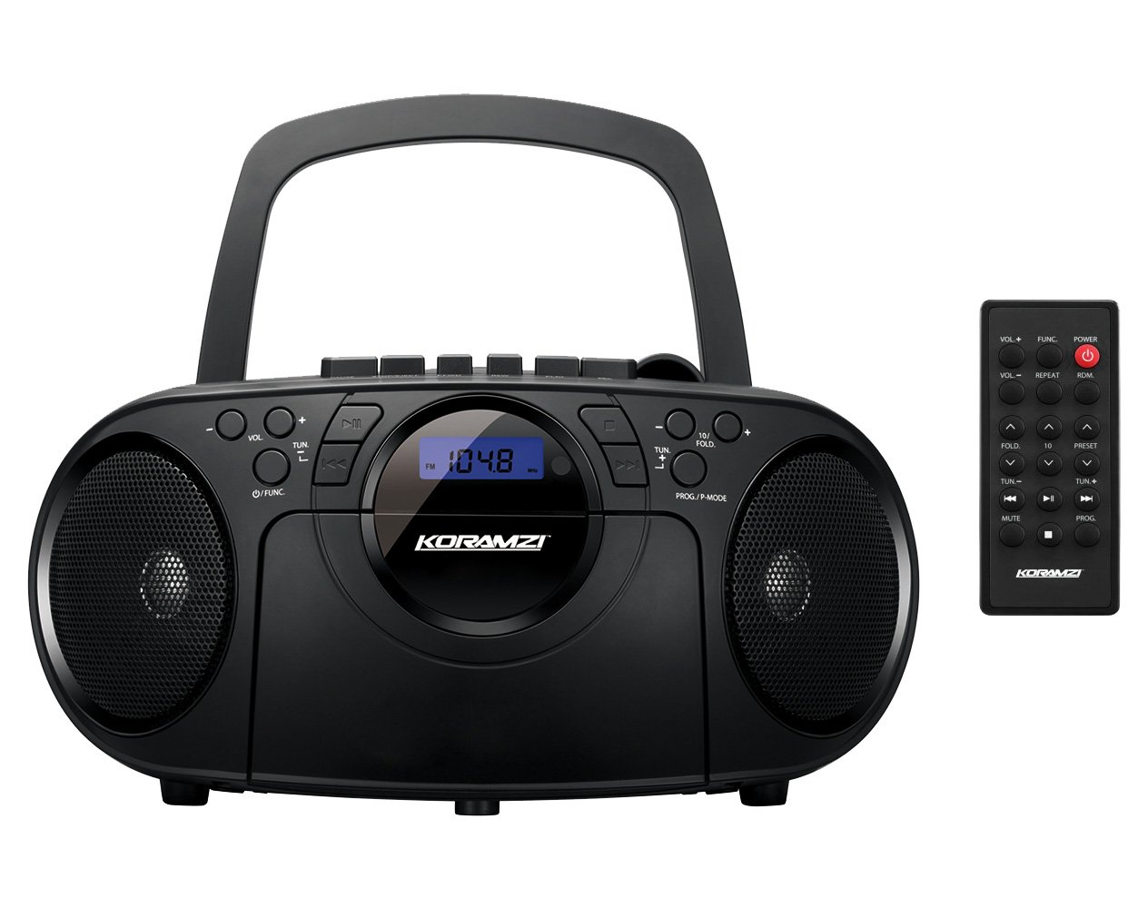 Koramzi Portable CD Boombox Full Range Stereo Sound System w/ Top-Loading MP3 CD Player, Cassette Player and Recorder, AM/FM Radio, USB Input, Headphone & AUX Jack w/ Remote Control- CD705CBK(Black)