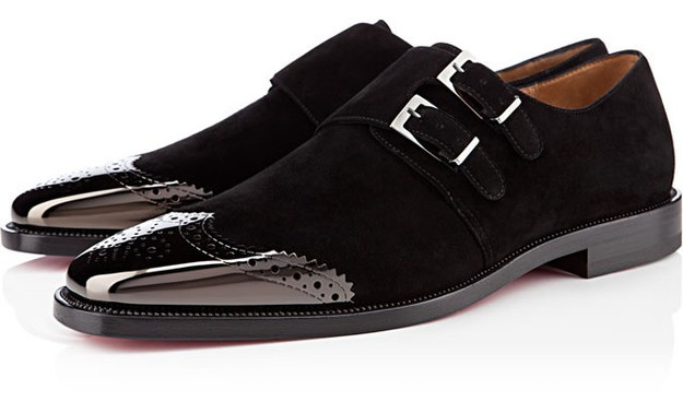 Men Leather Brogue Black Strap Monk Double Wingtip Shoes Suede qqwpZr