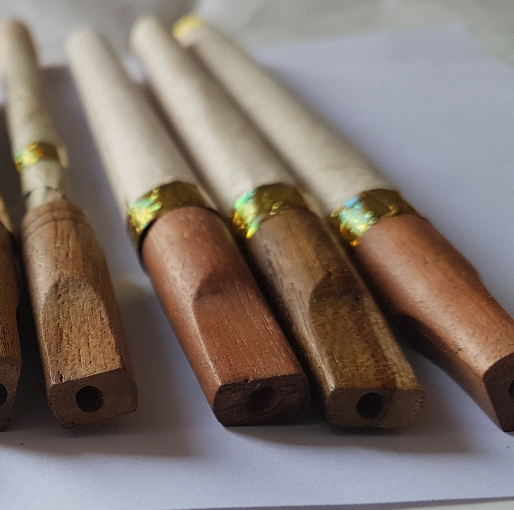 11x38mm Round End Wooden Cigar Tips for Pre Roll Rolled Natural leaf wooden tip, wooden tipped blunts bamboo sticks