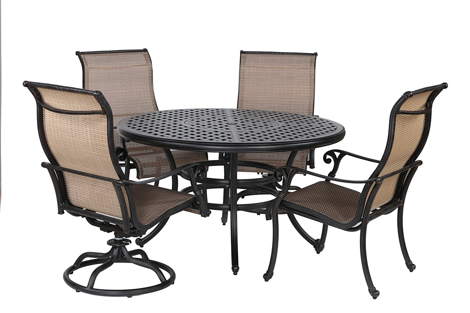 "iPatio Sparta 5pc Sling Dining Set, 52"" Round Table"