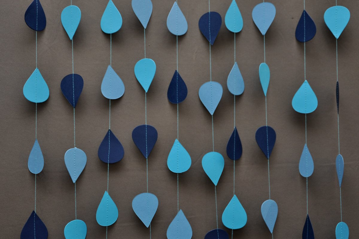 ... Ombre Blue Garland, Raindrop Garland, Paper Raindrops,Paper Garland,Nursery  Decor,