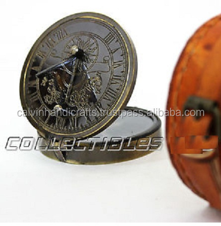 Flight Tracker Handmade Nautical Sundial Compass Brass Marine With Antique Brown Leather Case Various Styles Maritime Compasses Antiques
