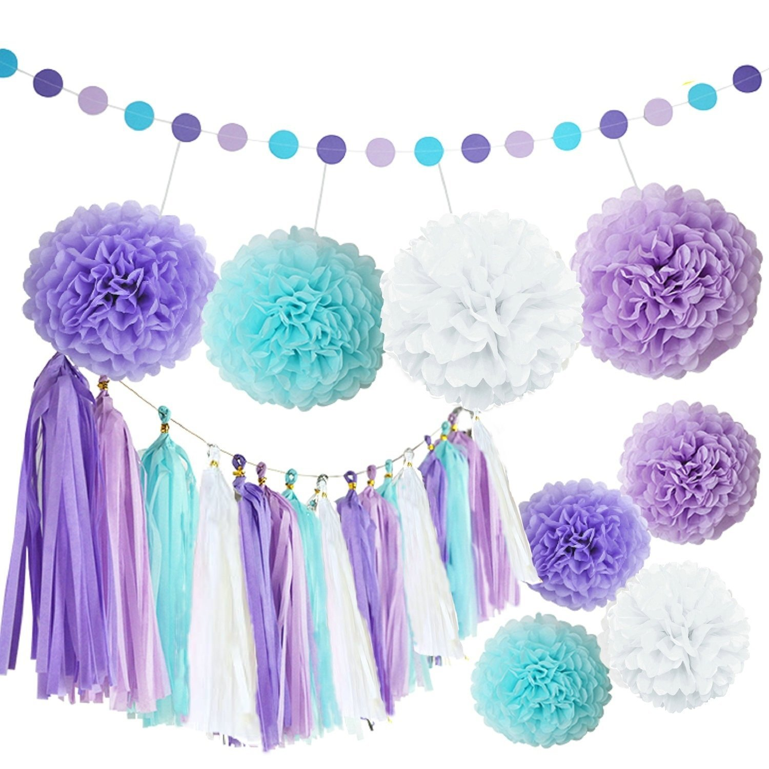 Bridal Shower Decor Purple Baby Shower Decoration Fascola 12 pcs White Purple Gold Tissue Paper Pom Pom Paper Lanterns Circle Paper Garland Mixed Package for Purple Themed Party Wedding Paper Garland