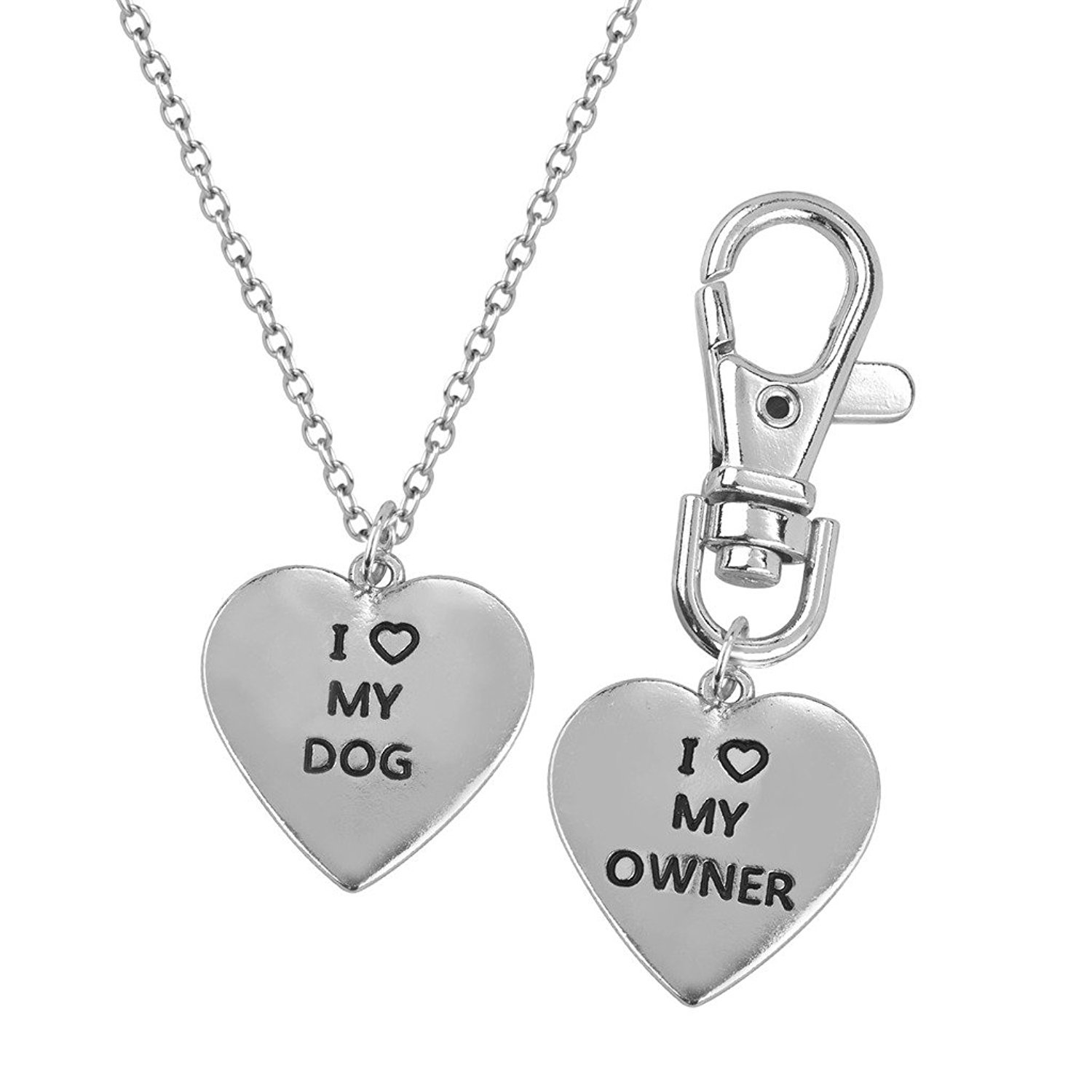 Love my Dog/Owner by Luvalti -Necklace & Keychain Set - Necklace for Animal Lovers