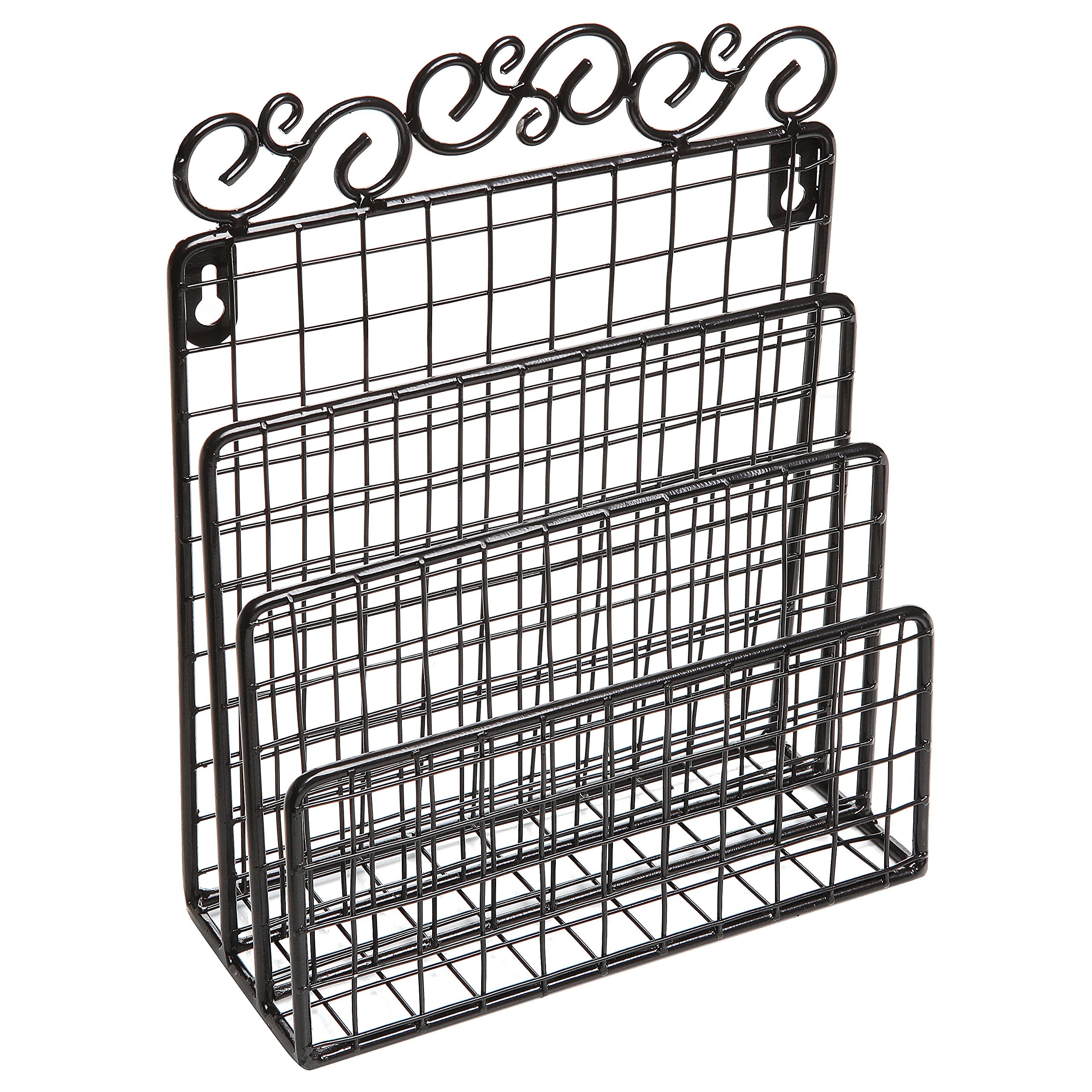 Buy Decorative Black Metal Wire Loop Design Wall Mounted Magazine ...