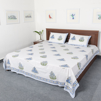 Indian wholesale bedding sets 100% cotton block printed home and textile bed sheets