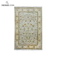 Indian Rug Traditional Rug Grey And Ivory Color Handmade Silk Rugs And Carpets