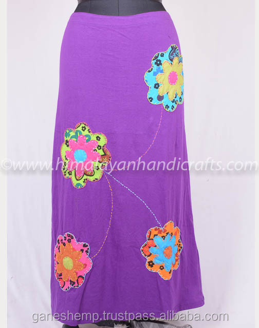 Beautiful Printed Patches Tyrian Purple Summer Long Dress HHCS 120 A