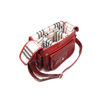 PU Saddle Camera Handbag With Magnetic Flap And Printed Flannel Lining