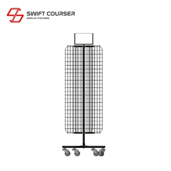 Metal shopping wall wire spinner grid display