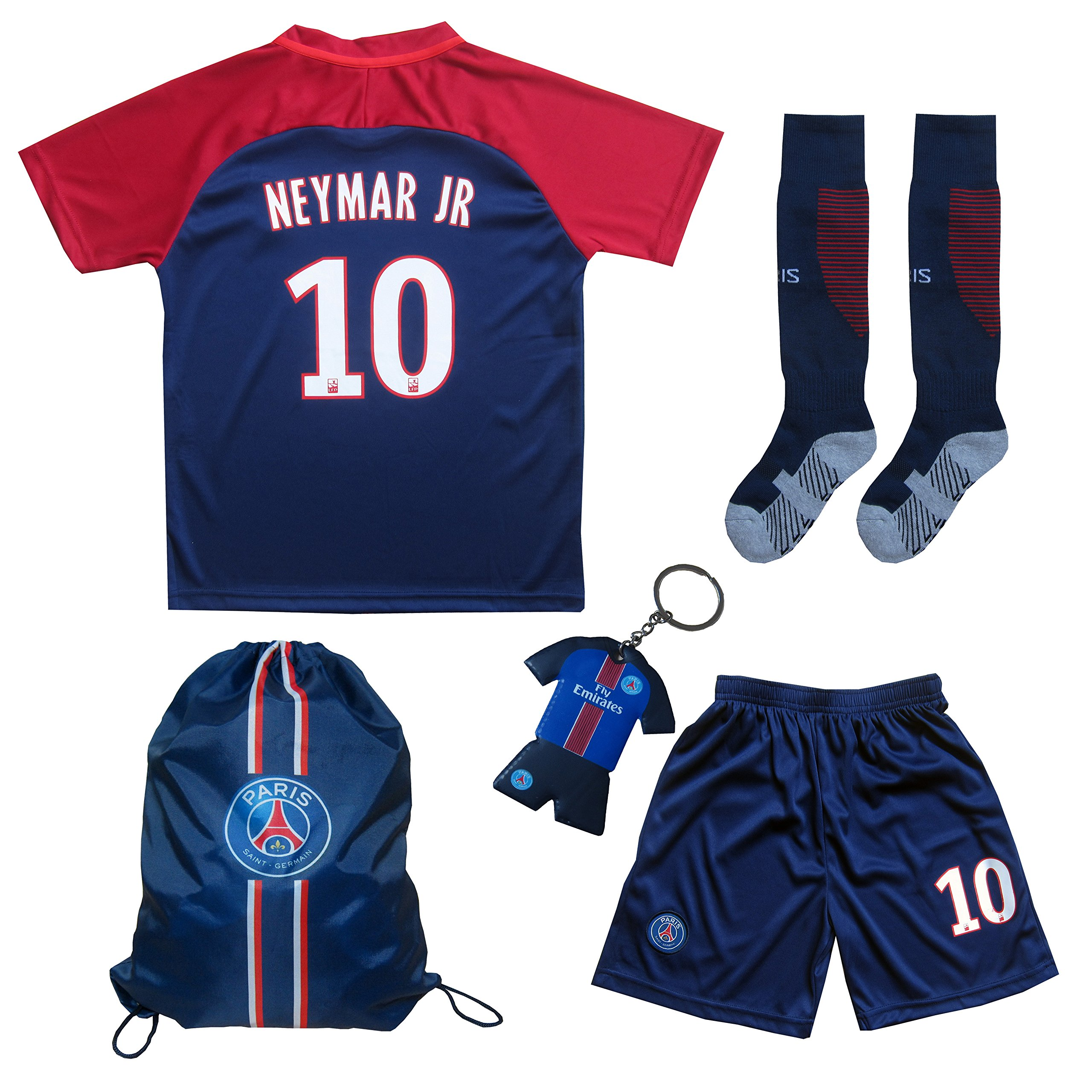 e33d5cd06 Get Quotations · 2017 2018 Paris Home  10 NEYMAR JR. Football Futbol Soccer  Kids Jersey Shorts