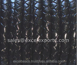 Top quality Braided Leather Cords 3mm/4mm/5mm made of genuine leather for making jewelry/bag handles, etc.