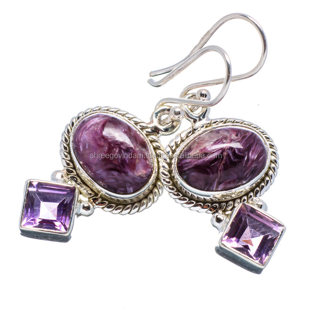 Gemstone Silver Jewelry !! 925 Sterling Silver Charoite, Amethyst Earrings INDIAN JEWELRY