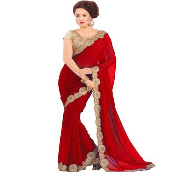 Ethnic Red Designer Saree Party wear Indian And Wedding Wear Traditional New