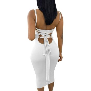 New Arrival Appealing White Backless Tight Woman Sexy Bodycon Dress