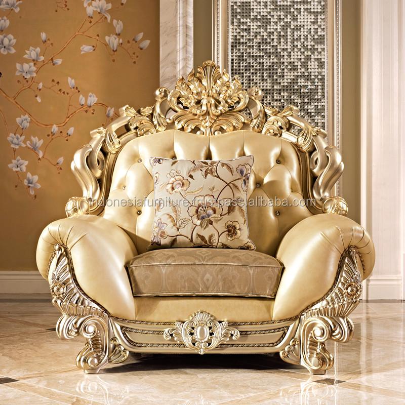 Italian sofa luxury sofa combination living room furniture carved European solid wood sofa