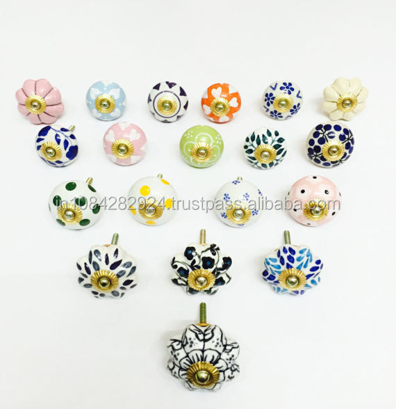 Dios multicolor ceramic handmade knobs cabinet drawer pull